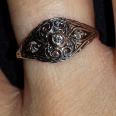 Unicat Inel Din Aur Vechi Cu Diamant Natural - Inel diamant, Carataj aur: 14k, Culoare: Alb