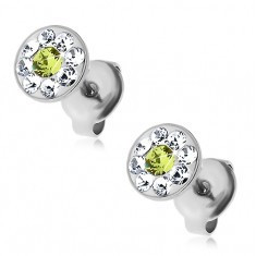 Cercei din oțel cu cristale Swarovski verzi și transparente, șuruburi - Cercei Swarovski