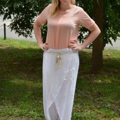 Pantalon de vara din bumbac, de culoare alba, model larg - Pantaloni dama