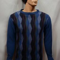 Pulover barbatesc, nuanta de bleumarin-negru, cu design geometric - Pulover barbati