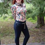 Pantalon trendy, de culoare bleumarin, material gros si calduros