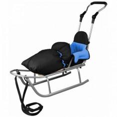 Sanie Baby Dreams Rider Plus cu Sac de iarna Speedy Color negru-albastru