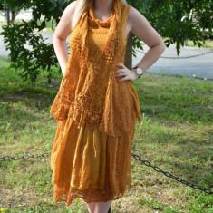 Rochie de vara cu aspect original, culoare galbena, cu esarfa - Rochie de zi