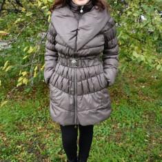 Jacheta casual, de culoare maro deschis din fis - Jacheta dama