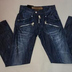 Pantalon blug de barbati cu croiala moderna, de nuanta albastra