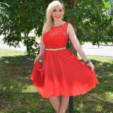 Rochie de ocazie, de culoare rosie, model scurt cu dantela