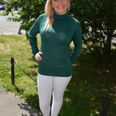 Bluza casual, de culoare verde inchis, croiala simpla - Helanca dama