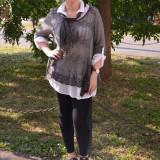 Bluza rafinata, de culoare kaki, tricotata, cu croiala asimetrica - Bluza dama, Maneca lunga, Khaki, Lana