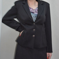 Sacou negru, model clasic cu trei nasturi si paspoal din piele - Sacou dama