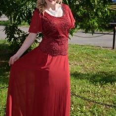 Rochie de culoare marsala, model elegant de ocazii, masuri mari - Rochie ocazie