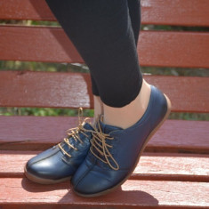 Pantof casual, negru. bleumarin din piele cu siret si talpa bej - Pantof barbat