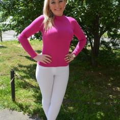 Bluza simpla de toamna-iarna, din bumbac de culoare roz aprins - Helanca dama