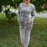 Bluza tinereasca din bumbac, de culoare gri, pentru colanti - Bluza dama, Marime universala, Maneca lunga, Din imagine