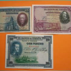 LOT BANCNOTE SPANIA 100, 50, 25 PESETAS