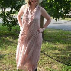 Rochie lejera, confortabila, masura mare, de culoare roz pudra - Rochie de zi