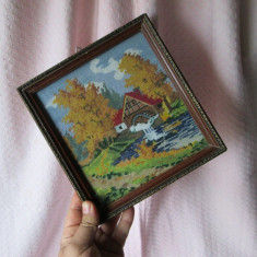 Goble vechi peisaj cu moara de apa in rama vintage, goblen vechi deosebit - Tapiterie Goblen
