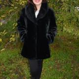 Jacheta moderna , din blana ecologica neagra