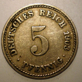 B.281 GERMANIA 5 PFENNIG 1903 A, Europa, Cupru-Nichel
