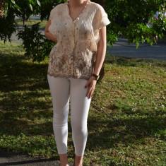 Camasa de dama, casual, cu maneca scurta, de culoare bej - Camasa dama, Bumbac, Marime: 48