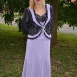 Costum de ocazie de culoare mov, cu fusta lunga, sacou si top - Costum dama