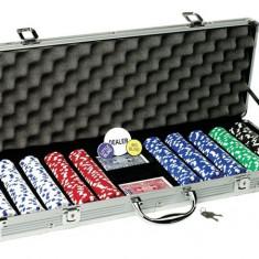 Set de poker 500 jetoane servieta aluminiu