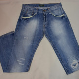 Pantalon blug pentru barbati, albastru, cu design modern, uzat