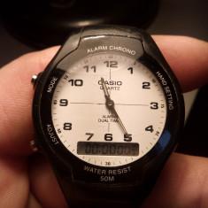 Casio aw 90h dual time - Ceas barbatesc Casio, Sport, Quartz, Carbon, Cauciuc, Cronograf