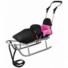 Sanie Baby Dreams Rider Plus cu Sac de iarna Speedy Color negru-roz