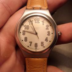 Ceas swatch irony aluminium - Ceas barbatesc Swatch, Casual, Quartz, Metal necunoscut, Piele, Rezistent la apa