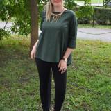 Bluza kaki, model tineresc cu design de funda mare in spate - Bluza dama, Maneca 3/4, Khaki, Nylon