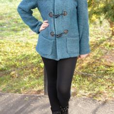 Jachete de toamna-iarna, moderne, de culoare turcoaz - Jacheta dama