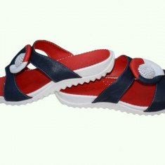 Papuc rafinat de vara, tricolor, alb-bleumarin-rosu, din piele fina - Papuci dama