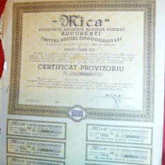 Actiune MICA - Certificat Provizoriu 1932 - Ed. 1946 ,Emisiunea 6a