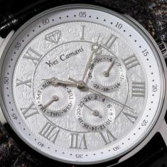 Ceas original Yves Camani Barocco silver - Ceas barbatesc Yves Camani, Elegant, Quartz, Inox, Piele, Rezistent la apa