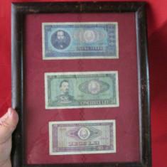 Bancnote romanesti comuniste inramate, bani vechi in rama - decor