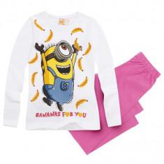 Pijama cu maneca lunga Minions alb/roz