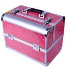Geanta profesionala pentru cosmetice si manichiura Pink - Geanta cosmetice
