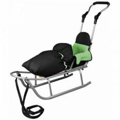 Sanie Baby Dreams Rider Plus cu Sac de iarna Speedy Color negru-verde