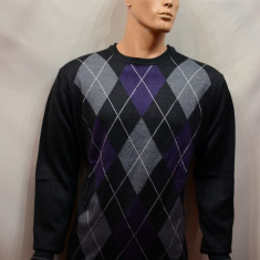 Pulover de barbati, nuanta de negru-mov, design in carouri - Pulover barbati