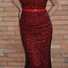 Rochie moderna de seara, de culoare rosie, model lung cu trena - Rochie de seara