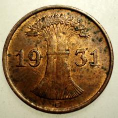 B.024 GERMANIA WEIMAR 1 REICHSPFENNIG 1931 E, Europa, Bronz