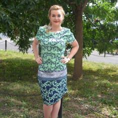 Rochie de zi, masura mare, design deosebit, de culoare turcoaz