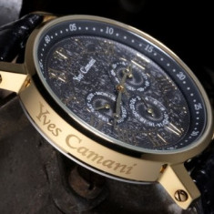 Ceas original Yves Camani Barocco gold - Ceas barbatesc Yves Camani, Elegant, Quartz, Inox, Piele, Rezistent la apa