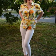 Camasi cu maneca scurta, viu colorate, cu flori pe fundal galben - Camasa dama, Casual, Bumbac, Marime: 42