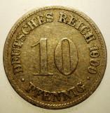 B.435 GERMANIA 10 PFENNIG 1900 D, Europa, Cupru-Nichel