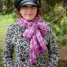 Esarfa casual de femei cu design clasic bicolor in nuante de roz - Esarfa, Sal Dama