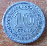 MALAYA 10 Cents - George VI 1949 Copper-nickel – 2.82 g – ø 19.5 mm KM# 8, Asia, Cupru-Nichel
