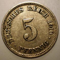 B.266 GERMANIA 5 PFENNIG 1910 D, Europa, Cupru-Nichel