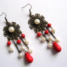 Cercei howlite rosu si perle 27756 - Cercei perla