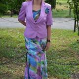 Costum elegant din voal, de culoare mov, fusta lunga si sacou - Costum dama
